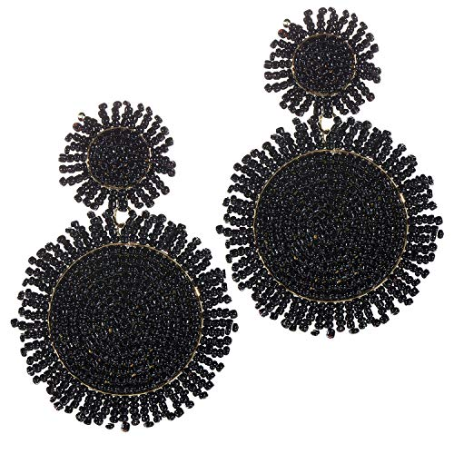 Black Statement Drop Earrings For Women Bohemian Beaded Round Earrings Fashion 14K Gold Handmade Whimsical dangle earrings For Girls Idea Gifts For Mom Sister and Friends 14k Gold Beaded Earrings
