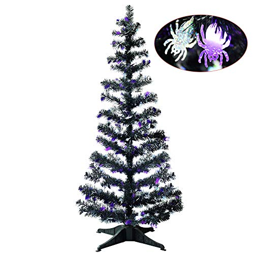 YuQi 5 Foot Black Tinsel Tree,Artificial Christmas Tree with Spider Shimmering Sequins ()