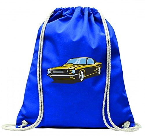 Turnbeutel hot Rod Sportwagen Oldtimer Young Timer Shellby Cobra GT Muscel Car America Motiv 9815 mit Kordel - 100% Baumwolle- Gymbag- Rucksack- Sportbeutel Blau Onq1TFSPA