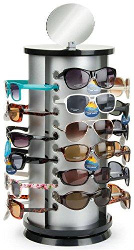 Displays2go SRFGLSCT24 Rotating Retail Sunglasses Rack Plastic/MDF 4-Sided Top - Rotating Sunglass Display