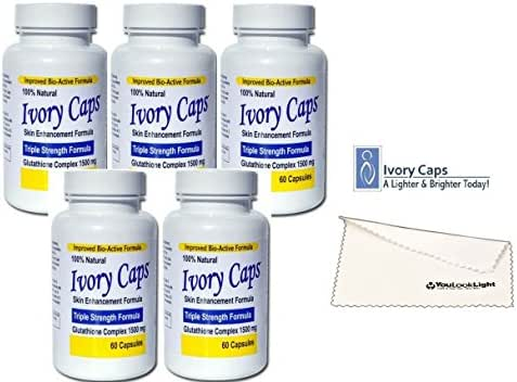 Ivory Caps Skin Whitening Lightening Max Glutathione 1500mg Pills + Youlooklight Screen/phone Cleaning Cloth (5 bottles)