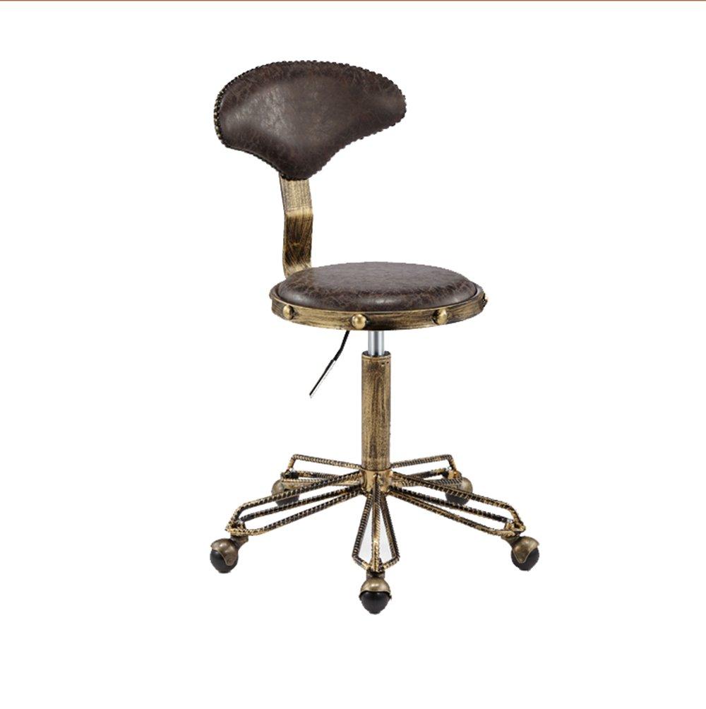 バーのスツールレトロバーの椅子美容スツール理髪店の回転リフトスツールメイクアップヘアサロンプーリーワークスツール50 *(45-58)cm(多色オプション) (色 : A) B07D26SVZS A A