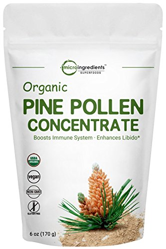 (USDA Organic Pure Pine Pollen Powder, 6 Ounce, Powerfully Improves Prostate Health, Protects The Cardiovascular System and Provides Immune Support. Non-GMO and Vegan Friendly)