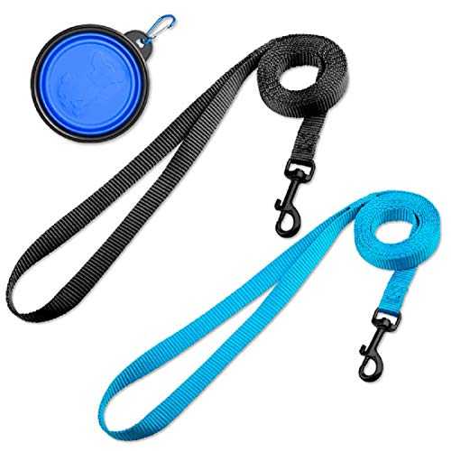 DOYOO 2 Pack Puppy Dog Leash Cat Leash, Strong and Durable Leash with Easy to Use Collar Hook - Dog Leashes for Cat with Collapsible Pet Bowl Great for Small and Medium Dog