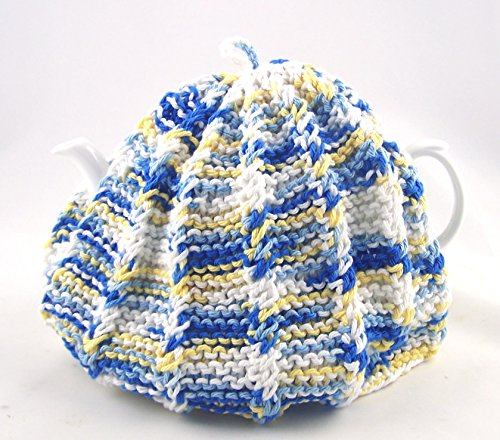 Knit Tea Cozy Cosy Handmade Washable Country Kitchen Colors - Blue and Yellow by ChinaFind