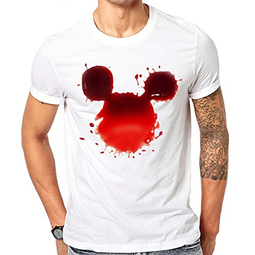 [GullPrint Men's Halloween Blood Mickey T Shirt X-Large White] (Witch Coustumes)