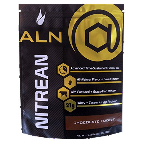 At Large Nutrition: NITREAN Chocolate Fudge Protein powder, advanced time-sustained formula, pastured and grass-fed whey protein, egg protein, casein protein, all-natural flavor and sweetener by At Large Nutrition