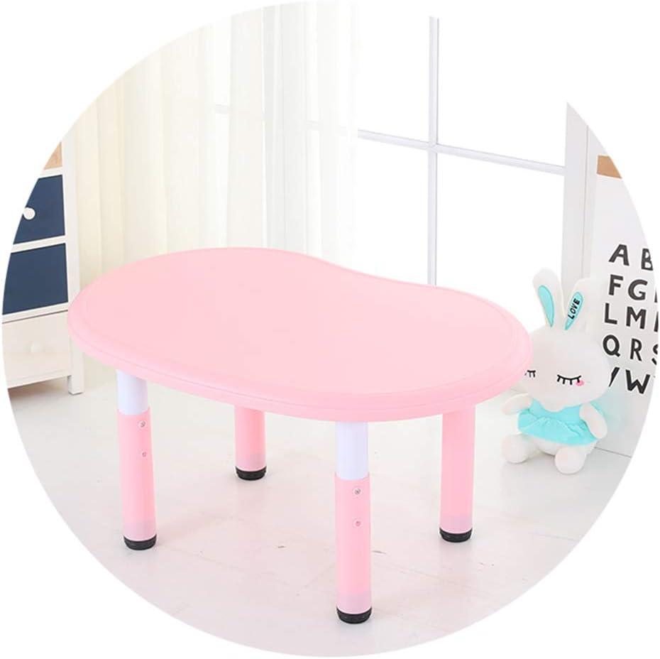 SSHHM Children Table,Adjustable Height,Peanut Shape Plastic Activity Desk Nursery Environmental Protection/Pink / 31.5×21.7in