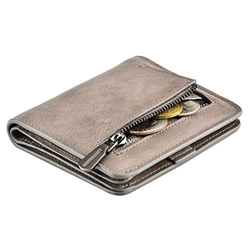 Womens RFID Blocking Wallet Accordian Credit Card Holder Genuine Leather Trifold (Bifold Gray)