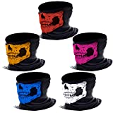 eBoot Seamless Skull Mask Skull Face Tube Mask Motorcycle Face Mask Headwear, Assorted Color, 5 Pieces