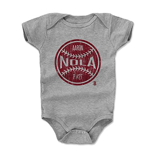 - 500 LEVEL Aaron Nola Baby Clothes, Onesie, Creeper, Bodysuit 3-6 Months Heather Gray - Philadelphia Baseball Baby Clothes - Aaron Nola Ball R