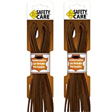 SafetyCare Heavy Duty Leather Boot & Shoe Laces -Great for Welding & Work Boots, Boat Shoes, Baseball Gloves, Arts & Crafts - 72 inch - Dark Brown - 2 Pair Pack