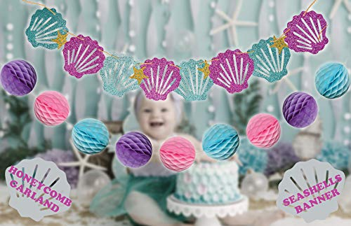 Mermaid Tails Under The Sea Decorations Supplies Kit for Birthday, Bridal & Baby Shower Themed Let's Be Little Mermaids Party - Premium Quality by PomPomGLAM Photo #6