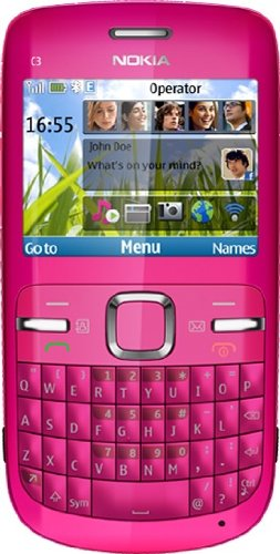 Nokia C3-00 Unlocked Cell Phone with QWERTY, Dedicated E-mail Key, 2 MP Camera, Media Player, WiFi, and MicroSD Slot--international Version with Warranty (Pink) by Nokia