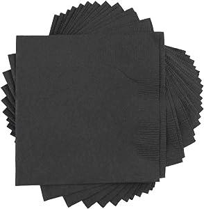 JAM PAPER Small Beverage Napkins - 5 x 5 - Black - 50/Pack