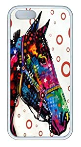iPhone 5S Case and Cover -horse TPU Silicone Rubber Case Cover for iPhone 5 and iPhone 5s White