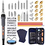 PICTEK Wood Burning Kit, Upgraded 43-in-1 Wood Burning Pen Soldering Iron Kit, Leather Pyrography Kit with 15x Wood Carving & Embossing Tips, 13x Soldering Tips, 2x Stencils, Sponge Stand, Knife Chuck, Blade and 5x Carbon Paper, 3x Colored Pencils -- New Accessories