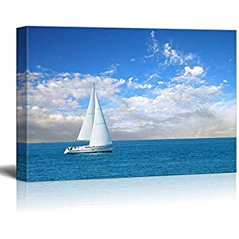 Canvas Prints Wall Art - Beautiful Seascape White Sail Boat on The Blue Calm Sea | Modern Wall Decor/Home Decoration Stretched Gallery Canvas Wrap Giclee Print & Ready to Hang - 16