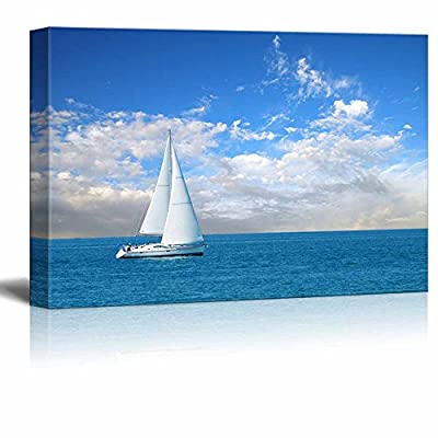 Amazing Piece of Art, Beautiful Seascape White Sail Boat on The Blue Calm Sea Wall Decor, Quality Artwork