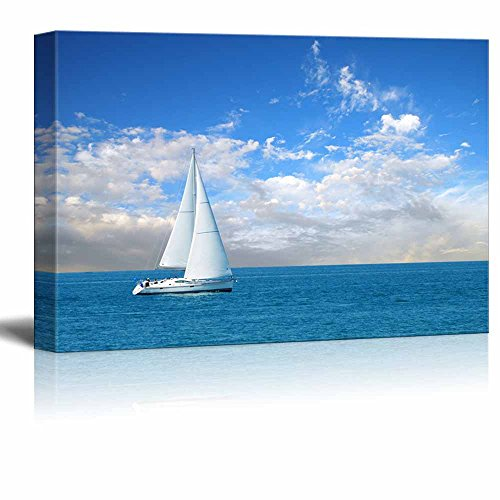 Beautiful Seascape White Sail Boat on the Blue Calm Sea Wall Decor ation