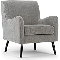 Simpli Home Dysart Mid Century Arm Chair, Grey Tweed