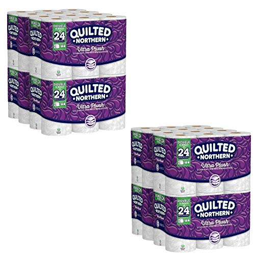 Quilted Northern Ultra Plush Toilet Paper, 48 Double Rolls, 48 = 96 Regular Rolls, 3 Ply Bath Tissue, 4 Pack of 12 Rolls (2 Pack 48 Double Rolls) (Pack of 2) (What's The Best Toilet Paper)