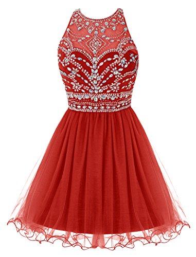 Bbonlinedress Vestidos de Fieata Atractivo de Tul Mini Con Cuentas Escotado por Detrás Rojo