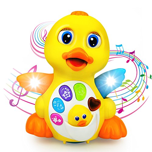 BestFire® Baby Toys Musical Dancing and Singing Duck Toy – Walks, Flaps Wings - 6 Songs, Speaking and Sound Effect Modes - Toys Gift for Babies, Toddlers, Kids