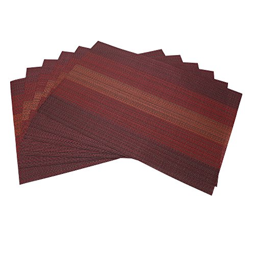 Tennove Table Mat set Set of 6, Washable PVC Placemats Crossweave Woven Table Mats for Kitchen (Red (Orange Place)