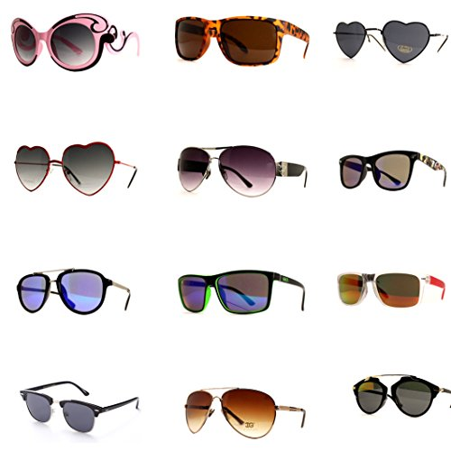 12 Pairs Women Fashion Designer Retro Vintage UV 100% WHOLESALE LOTS - Lot Sunglasses