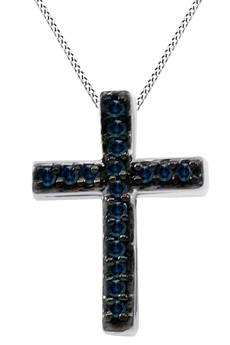 0.08 Cttw Blue Natural Diamond Cross Pendant Necklace in14k Gold Over Sterling Silver