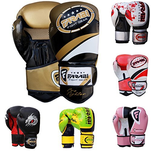 Farabi Pro Fighter Boxing Gloves Sparring Gym Bag Punching Focus Pad Mitts (Gold/black, 14Oz)