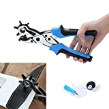 Revolving Punch Plier Kit, SCS ETC Leather Belt Hole Punch Plier 6 Round Hole Size Head revolves for DIY Hand Made, Professional Puncher for Belt, Saddle, Watch Strap, Shoe, Fabric and Paper