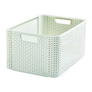 Curver Style M - storage boxes & baskets (Storage basket, Cream, Ratán, Monótono, Cuarto de baño, Dormitorio)