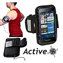 """Navitech Black / Silver Neoprene Water Resistant Sports Gym, Jogging / Running Armband Case with """"Light Reflection Strip"""" + """"key holder"""" for the Apple iPod Touch 3rd, 4th & 5th generations inc 8 GB, 16 GB, 32GB, 64GB + IPOD NANO 7TH GEN"""