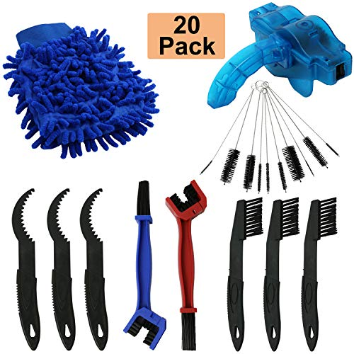 Homend Bicycle Chain Cleaning Brush Kit Bike Maintenance Washing Tool Suitable for Bicycles, Racing Bicycles, Hitchhiking, Mountain Bikes Maintain Cleaning Tool,Total 20Pack