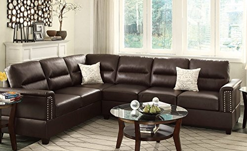 Poundex F7770 Bobkona Cady Bonded Leather Left or Right Hand Reversible Sectional, (Espresso Leather Sectional Sofa)