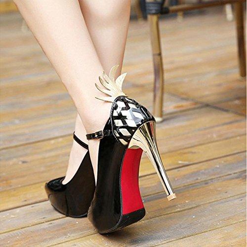 MZG Zapatos de mujer con ultra alta e impermeable Taiwán patente cuero elegante boca baja mujeres 2