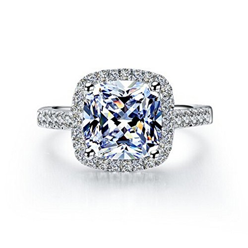 TenFit Jewelry 3 Carat VVS1 Simulated Diamond Engagement Ring for Women Silver Wedding Jewelry ()