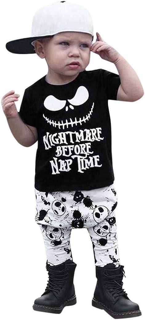 Hstore Baby Boys Girls Set Halloween Grimace Print Tops Skeleton Pants Clothes HOT