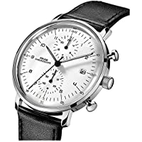 FEICE Quartz Watch Men's Analog Wrist Watch Stainless Steel Leathers Bands Waterproof Watches for Men Casual Business Best Gift #FS021 (White)