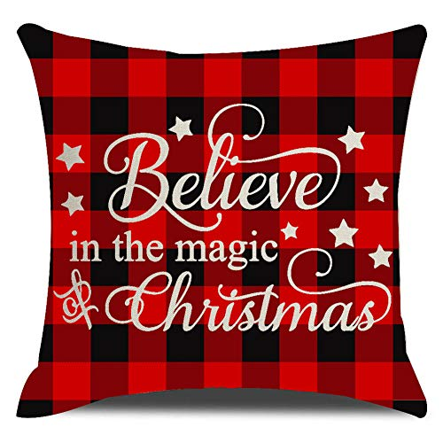 KACOPOL Red Black Christmas Buffalo Checkers Plaid with Quotes Throw Pillow Cover Christmas Decorations Farmhouse Home Decor Cotton Linen Pillow Case Cushion Covers Sofa 18