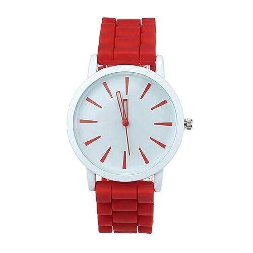 Reloj Mujer Silicona Moda Accesorios Mujer Reloj de Agujas Correa roja Ajustable