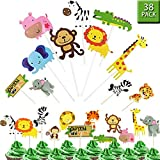 Jungle Safari Animal Cupcake Toppers Picks - 38pcs Zoo Animals Cake Decorations Food Picks Animal Theme Party Supplies Kids Birthday, Baby Shower,Animal Theme Party Decorations