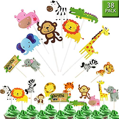 OuMuaMua 38 Jungle Safari Animal Cupcake Toppers Picks - Zoo Animals Cake Decorations Food Picks Animal Theme Party Supplies for Kids Birthday, Baby Shower,Animal Theme Party Decorations