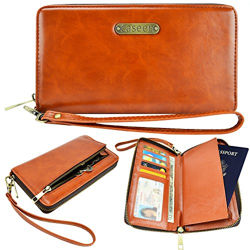Passport Case, Travel Wallet, caseen® Wristlet (Brown) w/ Passport Holder
