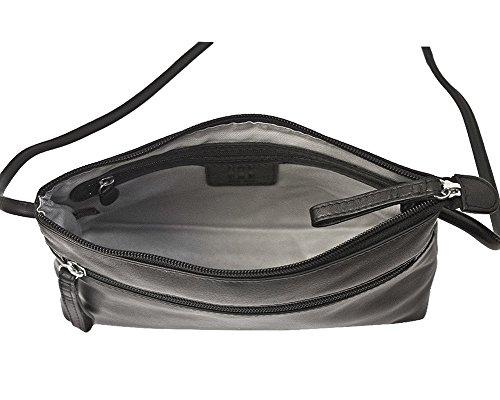 with Handbag Lining Black East 6667 Leather ili Crossbody West RFID vTU4YWWq