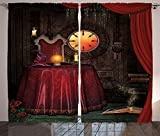 Gothic Decor Curtains Fortuneteller Room with Mystic Crystal Ball Magician in Fairy Tale Image Living Room Bedroom Window Drapes 2 Panel Set Maroon Brown Review