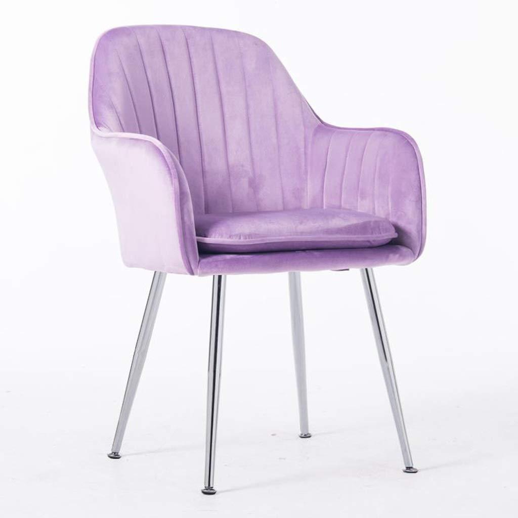 アイアンダイニングチェアドレッシングテーブルチェアレストラン用ダイニングテーブルチェアレジャーソファ椅子背もたれアームチェアカフェバーチェア事務用椅子コンピュータチェア (Color : Purple) B07TMQ44MM Purple