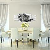 Runa-Art-Bilder-Afrika-Leopard-Wandbild-Vlies-Leinwand-Bild-XXL-Format-Wandbilder-Wohnzimmer-Wohnung-Deko-Kunstdrucke-Grau-5-Teilig-Made-in-Germany-Fertig-Zum-Aufhngen-000352a